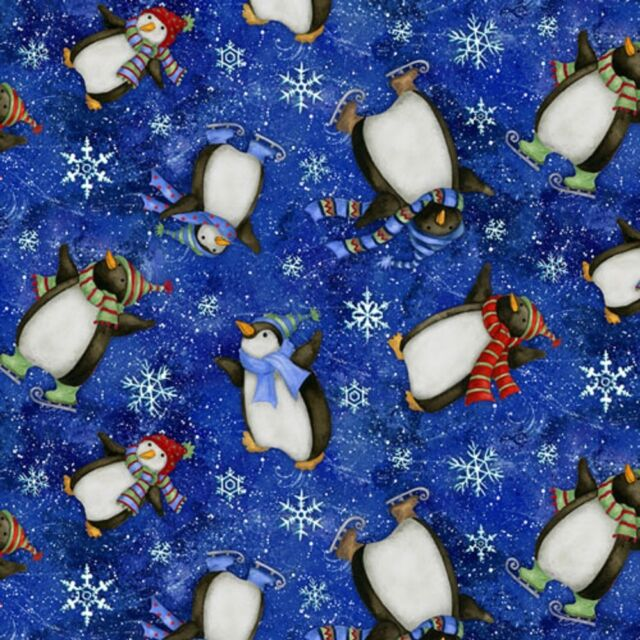 Fat Quarter Winter Wonderland Penguins Dark Blue Toss Cotton Quilting Fabric
