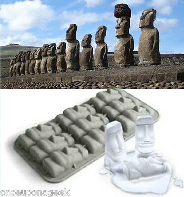 STONE COLD Ice Tray Stone Head Easter Island Parties Tiki Stone Ice Mold Party
