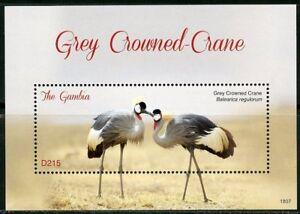 Gambie-2018-Grey-Crowned-Crane-SOUVENIR-SHEET-Comme-neuf-jamais-a-charniere