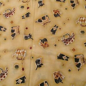 cotton fabric barn cat cow on tan mice with cheese