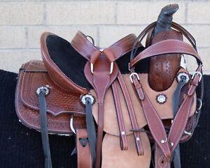 "12/"" 13"" Western Hand Carved Leather Barrel Trail Childrens Horse Saddle Tack"
