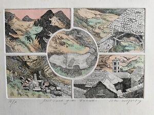 Rare-1974-John-Wolseley-Etching-Artist-Proof-Spanish-Postcard