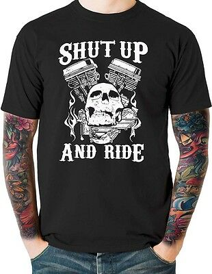 Shut Up and Ride Outlaw Biker T Shirt Skull Small to 6XL and Tall