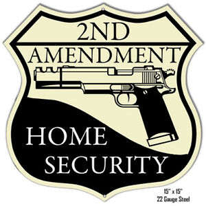 Reproduction 2ND Amendment Home Security Laser Cut Out Metal Sign 15x15