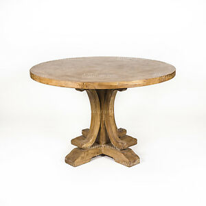 new ronde parquetry elm timber french style pedestal round dining table 120 cm ebay. Black Bedroom Furniture Sets. Home Design Ideas