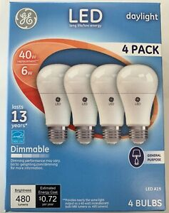 Details About 12 Ge Lighting 67614 Dimmable Led Daylight Light Bulb 6 Watt 40 W Replacement