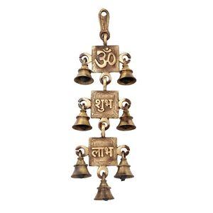 Wall Hanging Om Bell Hindu Om Shubh Labh Bells Brass Vastu