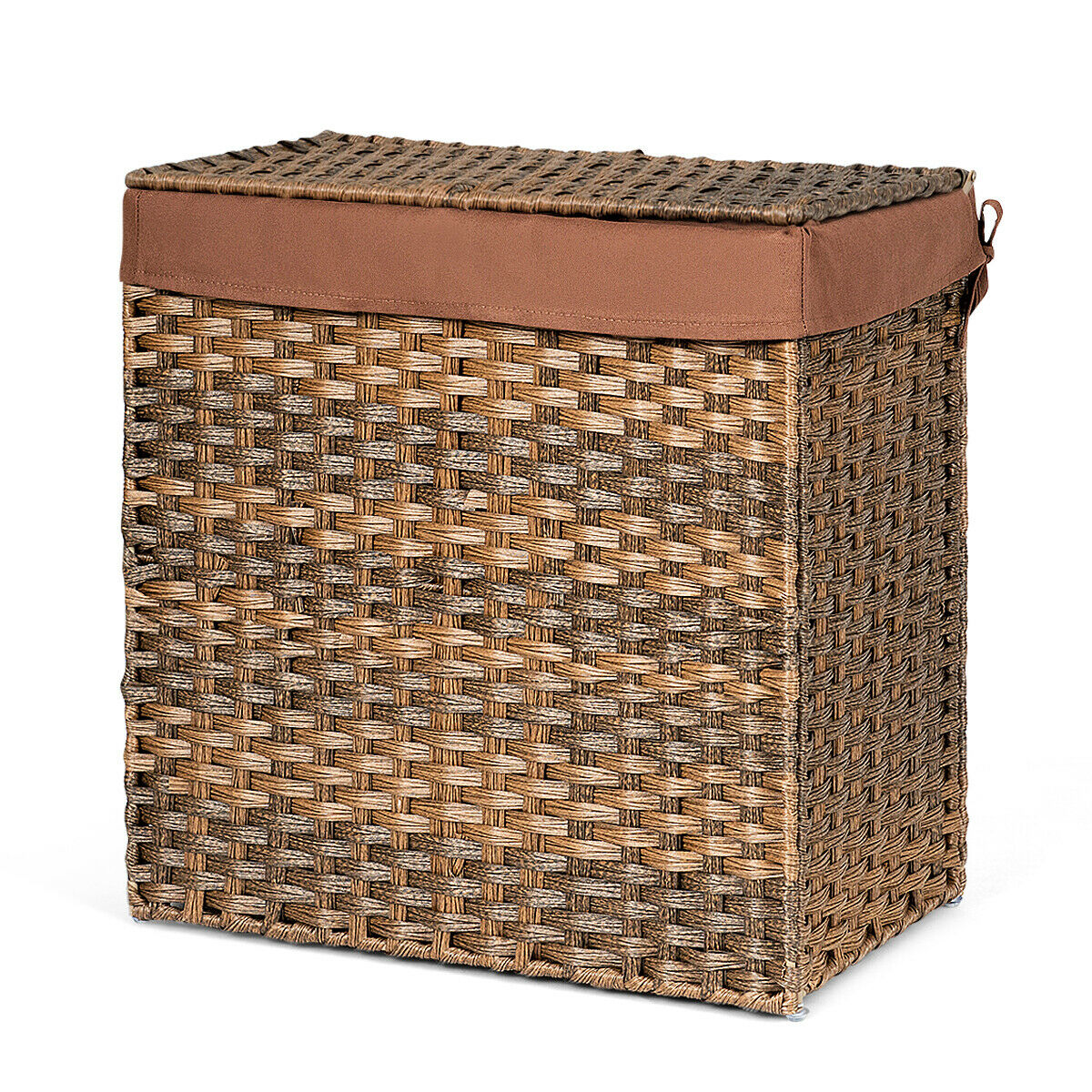 Hand Woven Laundry Basket Foldable Rattan Laundry Hamper W Removable Bag Brown For Sale Online