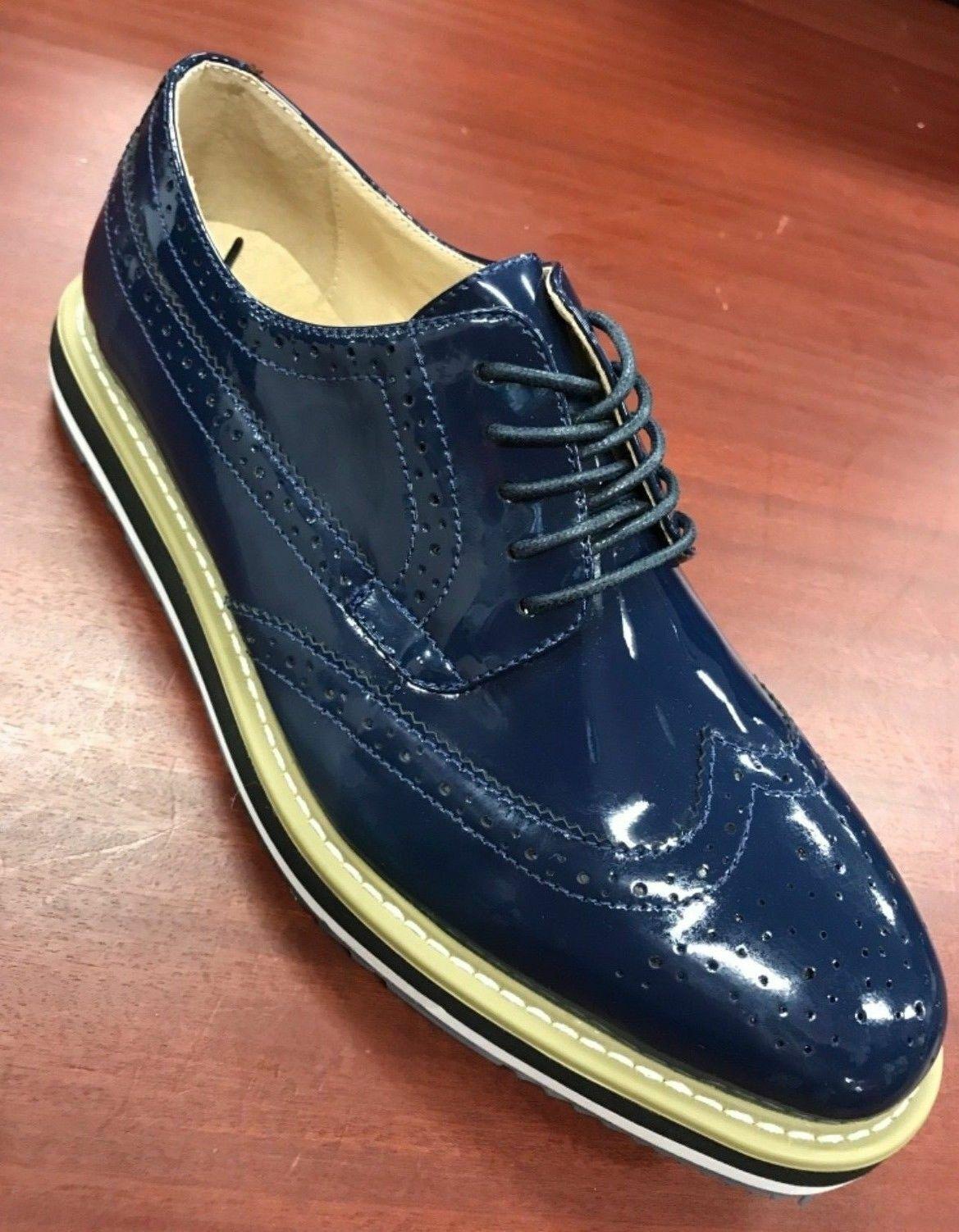 Men's Navy Patent Fashion Sneakers