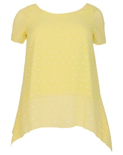 New Simply Be Emily Yellow Burnout Asymmetric Tunic Top Plus Size 16-26