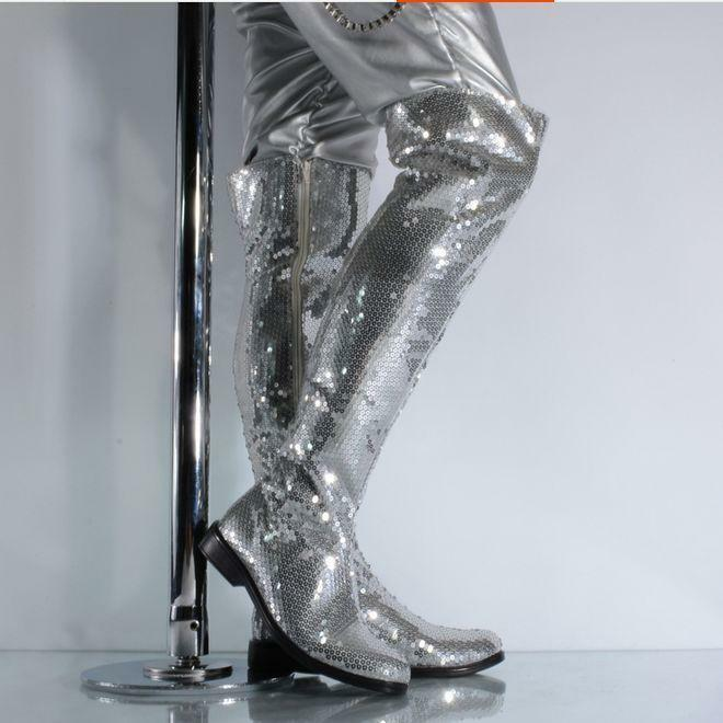 Punk Uomo Side Zip Sequins Nightclub Dancing Stage Shoes Dancing Nightclub Show Over Knee Stivali 5b13c7