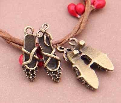 3pc Retro Bronze( High heels pendant )Bead Charms Accessories wholesale PJ2652
