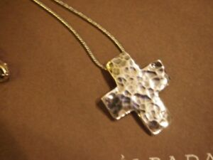 SILPADA-OXIDIZED-925-HAMMERED-CROSS-PENDANT-ON-WOVEN-CHAIN-NECKLACE-18-034-N0732