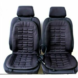 2-Piece-Cotton-Car-Seat-Heated-Cushion-Protector-Cover-Adjustable-Temperature-UK