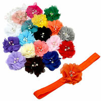 Pearl & Diamante Flower Headbands Hairbands for Baby Kids Toddlers. Elastic Band
