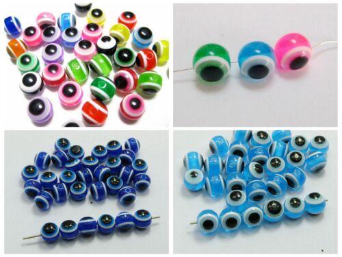 200pcs 6mm 8mm 100pcs 10mm Acrylic Kabbalah Evil Eye Ball Round Beads Craft