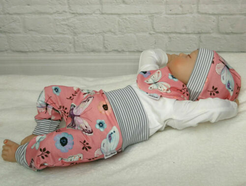 Handmade Baby Set Pumphose Halstuch 50-104 Schmetterling Rosa Beanie