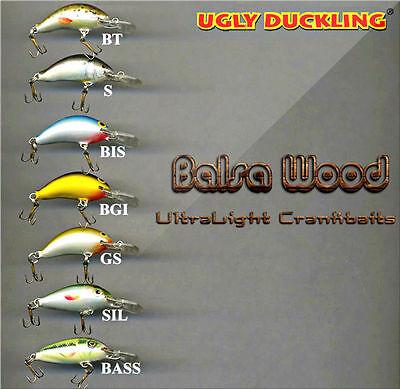 "Ugly Duckling Ultra Light Minnow Balsa Wood 1 5//8/"" ultra light bait 4F SIL"