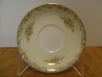 "Rose China, Occupied Japan Noritake Saucer Floral Bouquet beige/blue 5 5/8"""