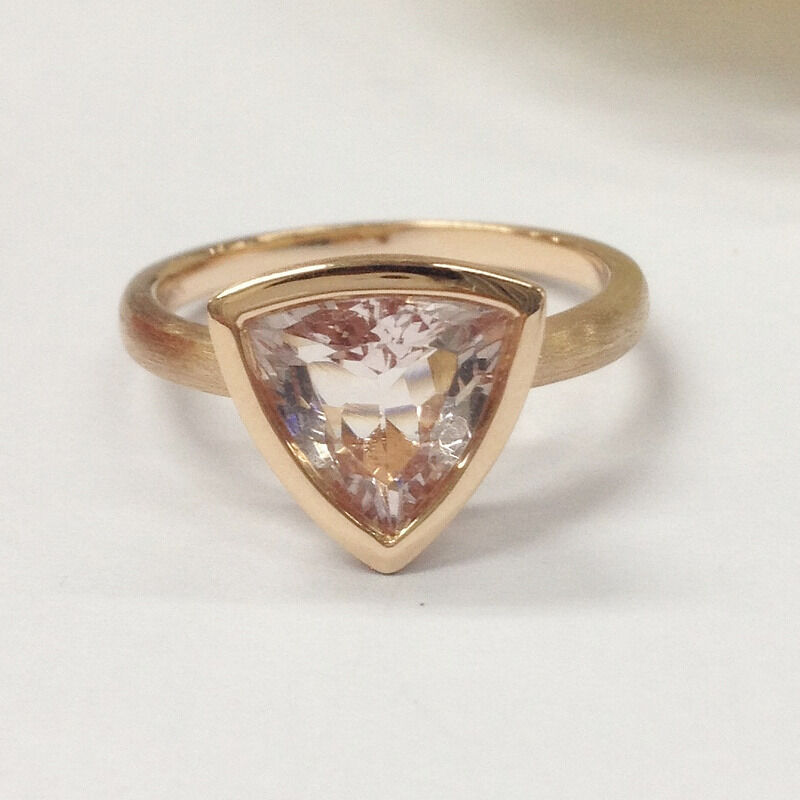 9x9mm Trillion Cut Morganite Engagement Wedding Ring,14K pink gold,Solitaire