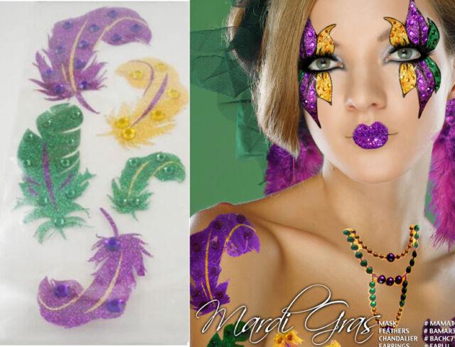 Mardi Gras Feather Glitter Gems Body Sticker Makeup Bird Swan Halloween Costume
