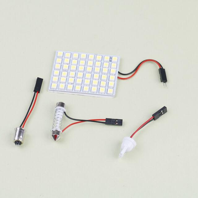 Car interior white 48 SMD 5050 LED light lamp panel T10 festoon Dome BA9S 12V HF