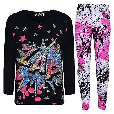 Bambine Maglia Nera Designer Zap Stampa T Shirt & Splash Set Leggings 7-13yr