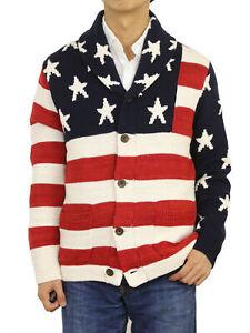 Polo-Ralph-Lauren-Shawl-Cardigan-Pullover-Stars-amp-Stripes-USA-Flagge