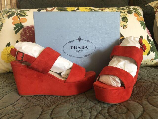 da77bb19685 PRADA Women s Coral Red Suede Platform Wedge Sandals 41.5 for sale online