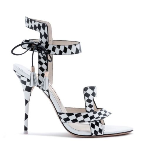 New Leather Sandals Poppy Webster Checked Shoes Sophia Xqr71X
