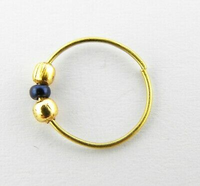 22ct Gold Nose Ring With Black And Yellow Beads Ebay