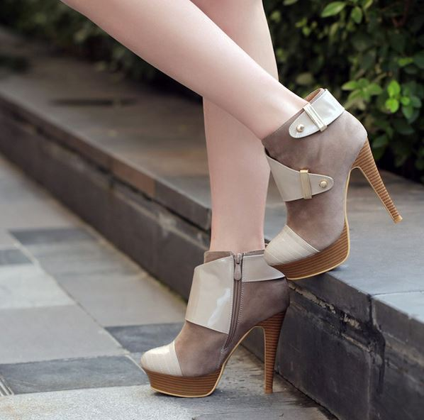 Stivaletti bottes chaussures  tacco spillo 12.5  cm pelle sintetica beige 9071