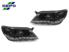 DEPO 09-11 Volkswagen Tiguan R8 Style White LED Strip Black Projector Headlight