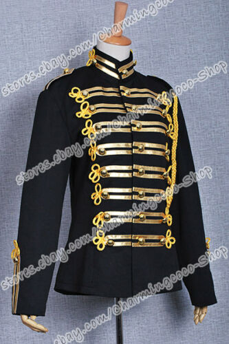 Michael Jackson Military Prince Black Costume Gold Stripe Jacket High Quality