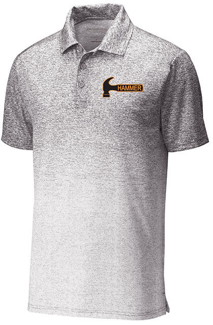 Hammer Men's Torque Ombre Heather Performance Polo Bowling Shirt White Graphite