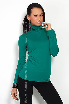 Classic Plain Stretch Women's Polo Turtle Neck Multicolor Long Sleeve FT545