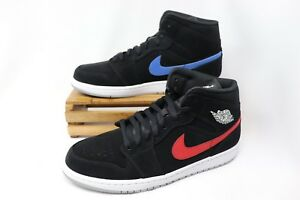 Nike Air Jordan Retro 1 Mid Black University Red Blue 554724-065 ... aeaa82aec