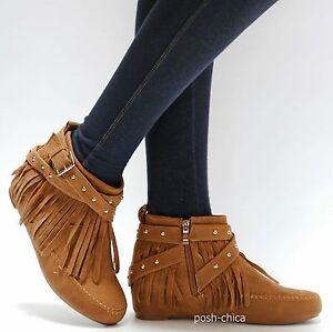 New Women Black Tan Gold Stud Western Fringe Moccasin Booties Wedge