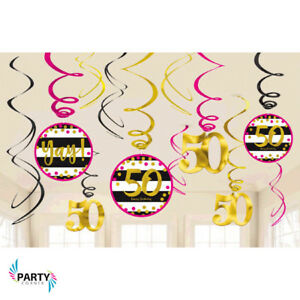 Image Is Loading 50th Birthday Party Supplies PINK And GOLD Swirl