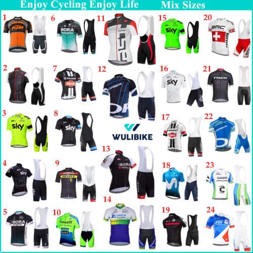 Mens Team Cycling Jersey Short Sleeve Racking Tops Padded Bib Shorts Mix Sizes