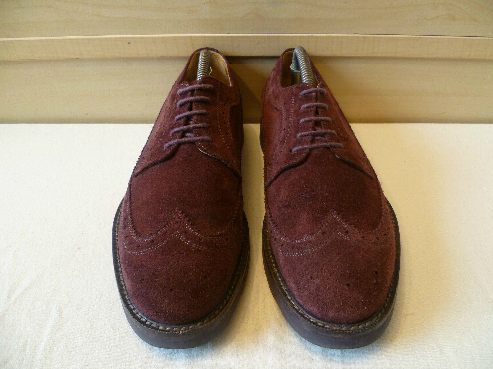 Paul Smith dark purple suede brogue UK 7 41 lace wingtip oxford lace 41 up Made in  8201e0