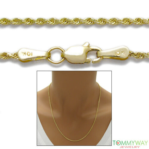 """10K Yellow Gold Diamond Cut Rope Chain Necklace 1.5mm 16/""""-24/"""""""