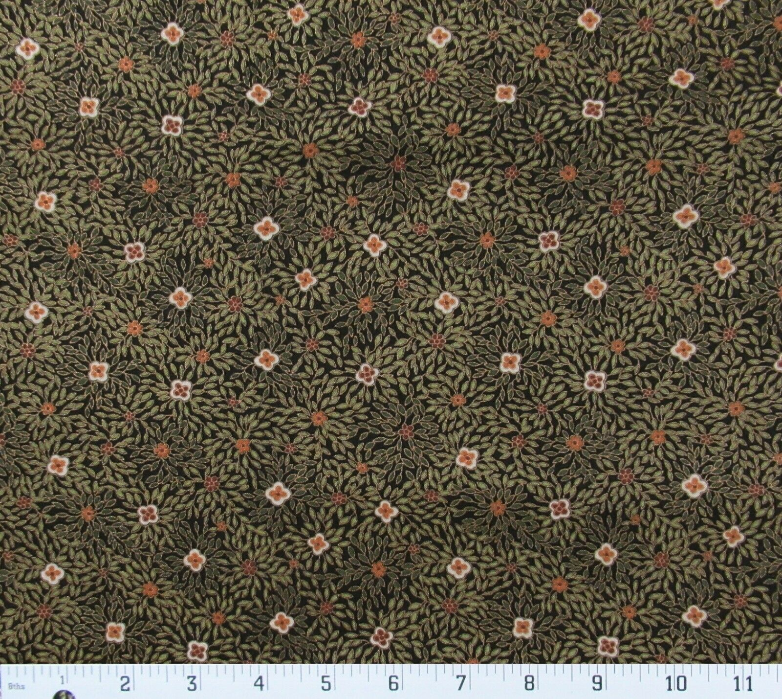 OOP Tropical Trading Floral Metallic Gold Cotton Fabric Olive Green Tan Coral