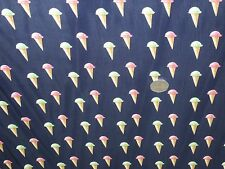 LIGHTWEIGHT SATIN PRINT-ICE CREAM CONES- -DRESS FABRIC-FREE P&P