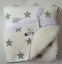 HIGH QUALITY DOUBLE LAYER FLUFFY FLEECY GREY//WHITE STARS BABY BLANKET      NEW