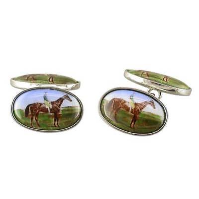 Oval Shaped Enameled Racing Horse and Jockey Cufflinks 925 Sterling Silver