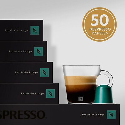 NESPRESSO FORTISSIO LUNGO Kaffeekapseln 5 Stangen Kaffee 50 Kapseln