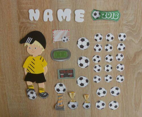 Deko für Schultüte Fußball Name,10 Modelle,Einschulung Fußballer 30 Teile