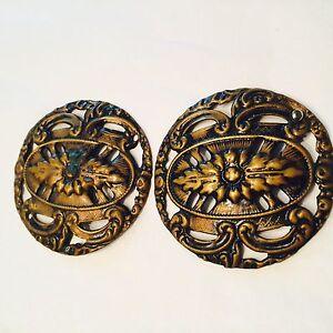 Vtg Pierced Brass Dress Embellishment Medallions Fret Work 1 1/2