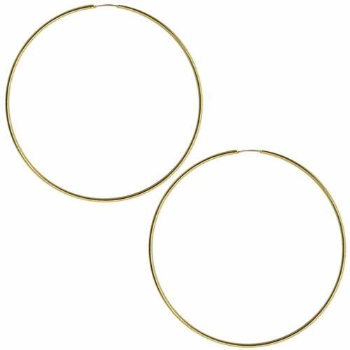 Giftbox 2 Creoles Earrings Huggie Hoop Sterling Silver 24 Carat Gold Plated